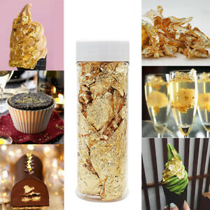 2pcs Edible Gold Leaf Foil Cooking Drink Food Dessert Ice Cream Cake Decorate