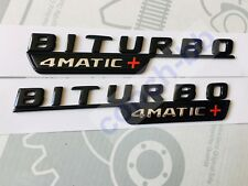 2 X BITURBO 4MATIC+ Gloss Black BADGE Emblem FOR MERCEDES AMG