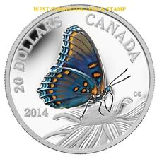 2014 $20 FINE SILVER COIN BUTTERFLIES OF CANADA - RED-SPOTTED PURPLE