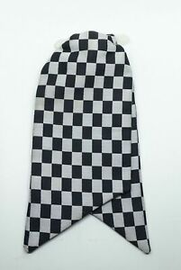 Used Ladies Clip On Cravat Checkered Black and White Pattern Fancy Dress