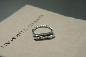 DAVID YURMAN Lexington Barrel Diamond Ladies Sterling Silver Ring Size 7 US