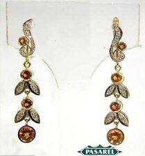 Superb 14K White & Yellow Gold Diamond Citrine Earrings