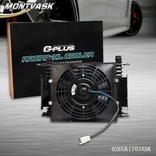 """15 Row 10AN Universal Engine Transmission Oil Cooler + 7"""" Fixed Cooling Fan Kit"""