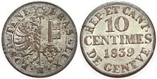 SUISSE GENEVE 10 CENTIMES 1839 KM#128 XF!!!