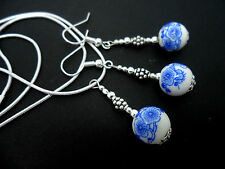 Un bel Blu/Bianco Porcellana Fiore Perlina Collana e Orecchini Set. NUOVO.