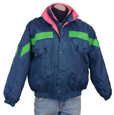 Vintage 80s 90s Mixed Blues SKI COAT Retro Neon COLORBLOCK Jacket Mens Parka M