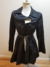 NEW Betsey Johnson Women Trench Coat Belted Double Breasted Ruffle Black Ivory M