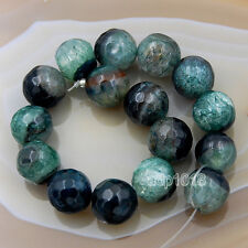 Natural Druzy Agate Faceted Round Gemstone Loose Beads 10mm 12mm 14mm