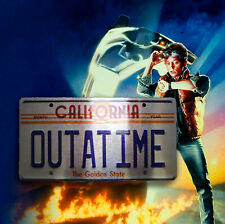 CHROME Back To The Future Inspired OUTATIME METAL SIGN RETRO GARAGE BAR Man CAVE