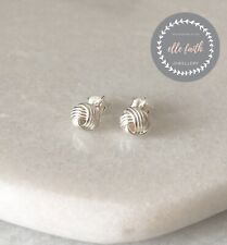 925 Solid Sterling Silver Knot Twist Studs Earrings Jewellery With Gift Box