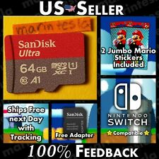 Nintendo Switch Memory Card 64GB A1 w/ Mario Stickers & Adapter (95MB/s UHS-I)