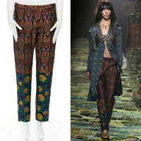 new DRIES VAN NOTEN Runway SS15 boho tribal tapestry jacquard slim pants FR38 S