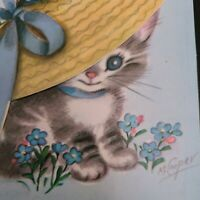 Vtg Rust Craft Birthday Greeting Card M.Cooper Kitten Straw hat pink roses