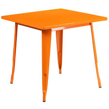 Flash Furniture Et-Ct002-1-Or-Gg 31.5'' Square Orange Metal Indoor Table New