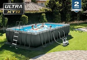 Intex 24ft X 12ft X52in Ultra XTR Frame Rectangular Pool Set w/Sand Filter Pump