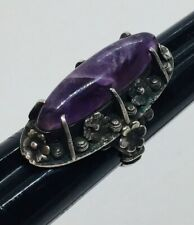 Antique Sterling Silver Amethyst Flower Long Ring Size 7.25