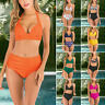 Women's Two Piece Bikini Set Swimsuit Swimwear Halter High Waist Bathing Suit US