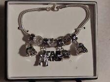 8 pc Sterling Silver Star Wars Bracelet w/7 Charms Darth Vader, R2D2, Yoda - NIB