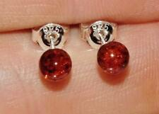 Sterling Silver (925) Real Baltic Amber Ball Stud Earrings - 6mm x 6mm