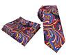 Men's Multi Floral Paisley Tie & Hanky Handkerchief Pocket Square Set