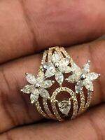 Pave 1,99 Cts Marquise Runde Birne Cut Natürlich Diamanten Ring In 585 14K Gold