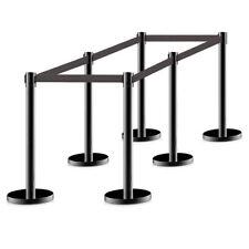 6pcs Stanchion Posts Queue Pole Retractable Black Belt Crowd Control Barrier
