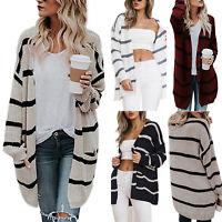 Women's Winter Warm Chunky Stripe Knitted Cardigan Girl Baggy Pocket Jumper Coat