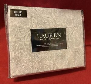 Ralph Lauren Paisley KING Sheet Set of 4PC 100% Cotton New in Package