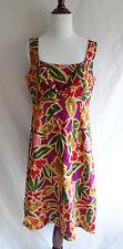 NWT Talbots 12 Tropical Hawaiian Flower Print Linen Blend Artsy Summer Dress