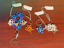 Lot of 4 Tatting/Tatted Lace Key Chain Charms, Ornament New