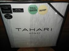 Tahari - Silver/White Queen Duvet Set - 3 Pc