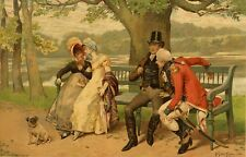 "PUG CARLIN MOPS HUND ANTIQUE ART DOG PRINT - Henry Gillard Glindoni ""Flirtation"""