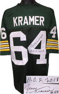 Jerry Kramer signed Green TB Pro Style Jersey #64 HOF XL- JSA Witnessed Holo