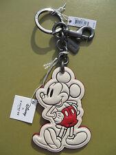 COACH Disney Mickey Bag Charm Key Chain Leather Black NEW Limited Edition 58994