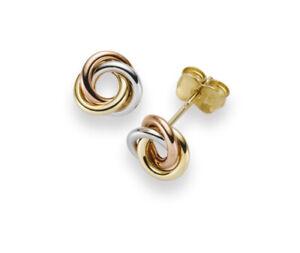 Paar Ohrstecker Ohrringe 8mm Knoten 585 Gold dreifarbig gelb/rot/weiß Ohrschmuck