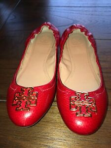TORY BURCH RED LEATHER BALLET FLATS SLIDES SLIP-ON SHOES 7 M