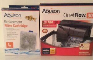 LED PRO AQUEON QUIET FLOW 30 POWER FILTER FOR AQUARIUMS+6 FILTERS