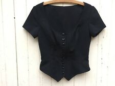 BLACK CORSET TOP daisy button down vintage structured gothic witch fetish S