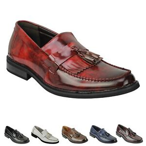Mens Vintage Style Polished Faux Leather Tassel Loafers Retro MOD Shoes
