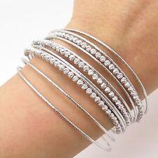 "925 Sterling Silver Wide Multi-Strand Cuff Bracelet 7"""