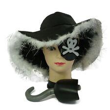Pirate Hat Set, Eye Patch, Hook Halloween Pirate Fancy Dress Accessories