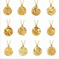 Zodiac Pendant Gold Women Chain Constellation Zirconia Necklace Stainless Steel