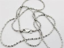"""14K 20"""" Inch Solid White Gold Diamond Cut Sparkle Necklace Chain 1.1mm"""