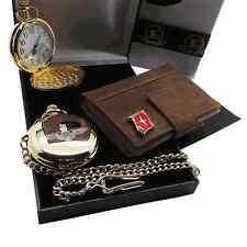 PARAS Gold POCKET WATCH Leather Card Wallet Luxury Gift Set PARACHUTE REGIMENT
