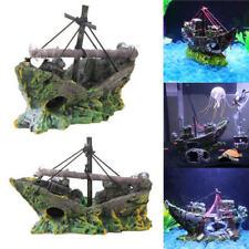 Resin Home Aquarium Decoration Wreck Sinking Ship Fish Tank Reservoir US