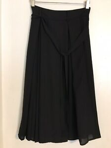 H&M Women High Waist Pleated A Line Long belted Black Casual Skirt 2