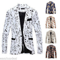 Stylish Mens One Button Floral Suit Slim Fit Blazer Coat Jacket Outwear Tops