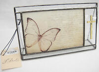 J Devlin Stained Glass Picture Frame With Applied Cross Holds 4x6 Photo New