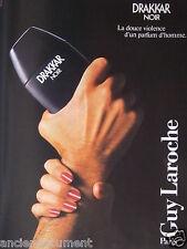 PUBLICITÉ 1986 GUY LAROCHE DRAKKAR NOIR UN PARFUM D'HOMME - ADVERTISING