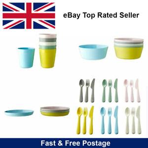 New IKEA Kalas Kids Baby Multicolour Plastic Bowls Cups Plates Cutlery Spoon Set